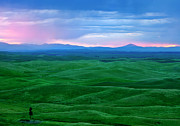 Rolling Hills Prints - Red Dawn over the Palouse Print by Mike  Dawson