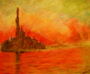 Pen  Pastels - Red Dawn by Ted Castor