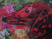 Puppy Mixed Media - Red by Debby Guelker