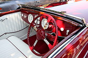 French Cars Prints - Red Delahaye Steering Wheel and Dashboard . 40D9340 Print by Wingsdomain Art and Photography