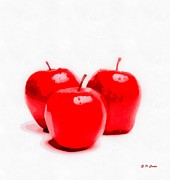 Red Delicious Apples Print by Elizabeth Coats