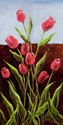 Red Delight-tulips Print by Vic  Mastis