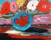 Primitive Raw Art Paintings - Red Design-Blue Vase by Mary Carol Williams