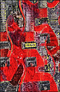 "\""electric Guitar\\\"" Digital Art Framed Prints - Red Devil Framed Print by Bill Cannon"