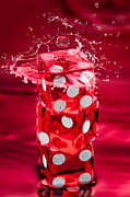 Water Play Prints - Red Dice Splash Print by Steve Gadomski
