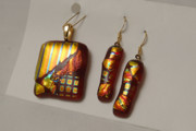 Gold Earrings Glass Art Originals - Red Dichroic Pendant And Earrings by Sandy Feder