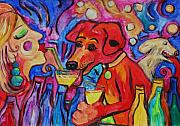 Bubbly Painting Framed Prints - Red Dirk Dog And Rita Blow Bubbles Framed Print by Dianne  Connolly