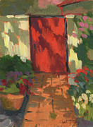 Wineries Paintings - Red Door - Shadow and Light by Diane McClary