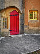 Gothic Home Framed Prints - Red Door and Yellow Windows Framed Print by Susan Candelario