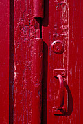 Painted Wood Prints - Red door close up Print by Garry Gay