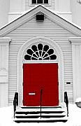 Snow Photo Prints - Red Door Print by Craig Incardone