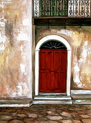 Stucco Mixed Media Posters - Red Door Poster by Debi Pople