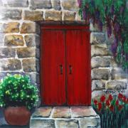 Greece Mixed Media Prints - Red door Print by Georgia Pistolis