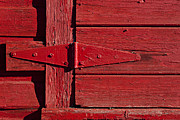 Painted Wood Prints - Red door henge Print by Garry Gay