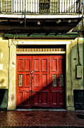 French Door Digital Art Prints - Red Door in Half Shadow Print by Bill Cannon