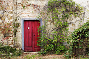 Shrubbery Framed Prints - Red Door in Old Brick and Stone Cottage Framed Print by Jeremy Woodhouse
