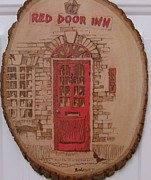 Red Pyrography Originals - Red Door Inn by Rj Schiller-artbyfire