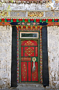 Tibet Framed Prints - Red Door Framed Print by Kate McKenna