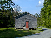 One Room School House Prints - Red Door of the One Room School House Print by Douglas Barnett