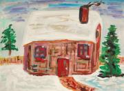 Fir Trees Drawings Prints - Red Door Snow House Print by Mary Carol Williams