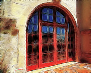 Red Doors Prints - Red Doors Print by Cheryl Young