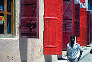 Jacmel;haiti Art - Red Doors by Johnny Sandaire