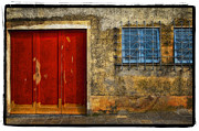 Blue Art Pyrography Prints - Red Doors Print by Mauro Celotti