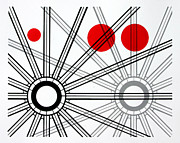 Photographer Drawings Originals - Red Dot Geometry by Scott Shaver
