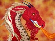 Mythological Painting Posters - Red Dragon Poster by Debbie LaFrance