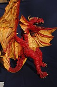 Science Fiction Sculptures - Red Dragon by Rick Ahlvers