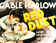 Clark Gable Framed Prints - Red Dust, Clark Gable, Jean Harlow Framed Print by Everett