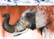 Animals Mixed Media Originals - Red Elephant by Anthony Burks