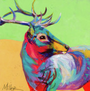 Elk Paintings - Red Elk by Tracy Miller