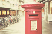 Y120817 Prints - Red English Post Box In Lucerne, Switzerland Print by Copyright Laura Evans. All Rights Reserved.