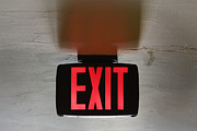 Exit Sign Posters - Red Exit Sign on Ceiling Poster by Jeremy Woodhouse