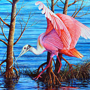 Spoonbill Paintings - Red eye squared by AnnaJo Vahle