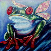 Red-eyed Tree Frog Painting Prints - Red eyed Butterfrog Print by Lorraine Davis Martin