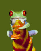 Tree Frog Art - Red Eyed Delight by Janet Fikar