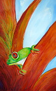 Red-eyed Tree Frog Painting Prints - Red-Eyed GreenTree Frog No. Four Print by Myra Evans
