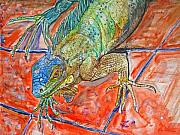 Reptiles Paintings - Red Eyed Iguana by Kelly     ZumBerge