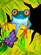 Red-eyed Tree Frog Painting Prints - Red Eyed Tree Frog and Purple Butterfly Print by Nick Gustafson