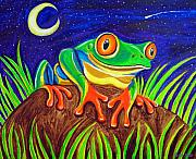 Red-eyed Tree Frog Painting Prints - Red-eyed tree frog and starry night Print by Nick Gustafson