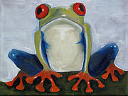 Knees Painting Framed Prints - Red Eyed Tree Frog Framed Print by Dina Day