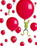 Compilations Posters - Red-eyed Treefrogs Floating On Red Poster by Corey Hochachka