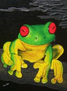 Fauna Mixed Media Metal Prints - Red Eyes -Green Tree Frog  Metal Print by Una  Miller