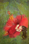 Digital Fairies Prints - Red Fairy Dreams I Print by MiMi  Photography
