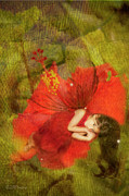 Digital Fairies Prints - Red Fairy Dreams II Print by MiMi  Photography