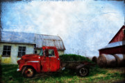 Hay Bale Framed Prints - Red Farm Truck Framed Print by Bill Cannon