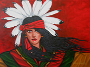 Southwest Indians Paintings - Red Feathers by Lance Headlee