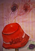 Dressing Room Paintings - Red Felt Hat With Feathers by Phyllis Barrett